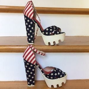 Wild Diva Lounge platform heels Red white and blue